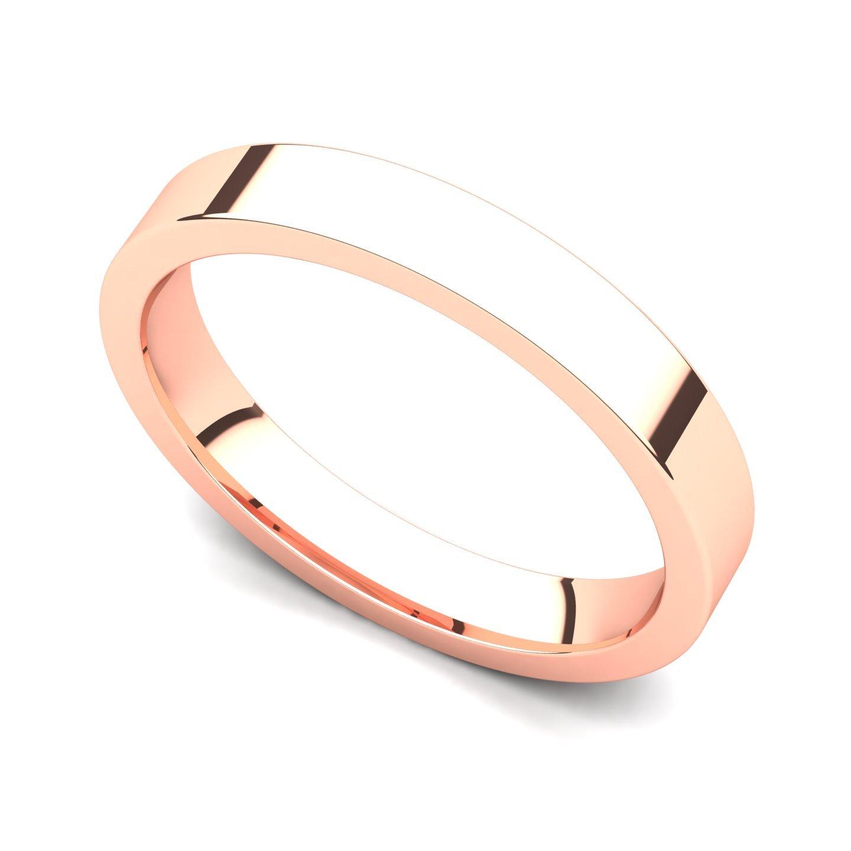 14k Rose Gold 3mm Classic Plain Flat Wedding Band Ring, 6