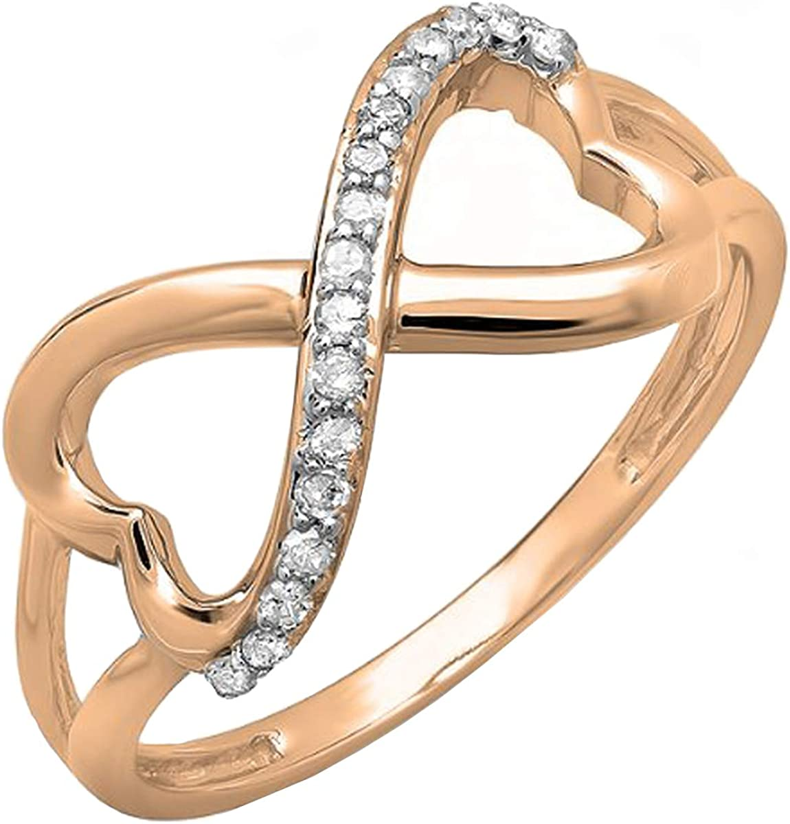 Dazzlingrock Collection 0.15 Carat (ctw) 14k Gold Round Diamond Ladies Promise Two Double Heart Infinity Love Engagement Ring