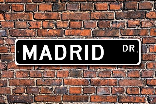 Teisyouhu Stree Sign Plaque Madrid Sign Gift Madrid Visitor Souvenir City In Spain Madrid Native Metal Aluminum Sign Wall Plaque Decoration by Teisyouhu