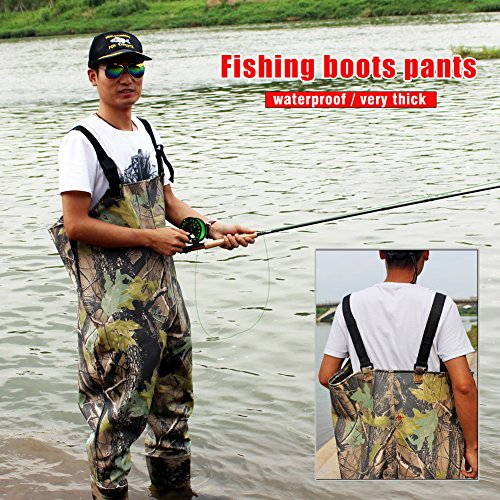 Sougayilang camouflage waterproof boot foot chest waders for Fishing waders amazon