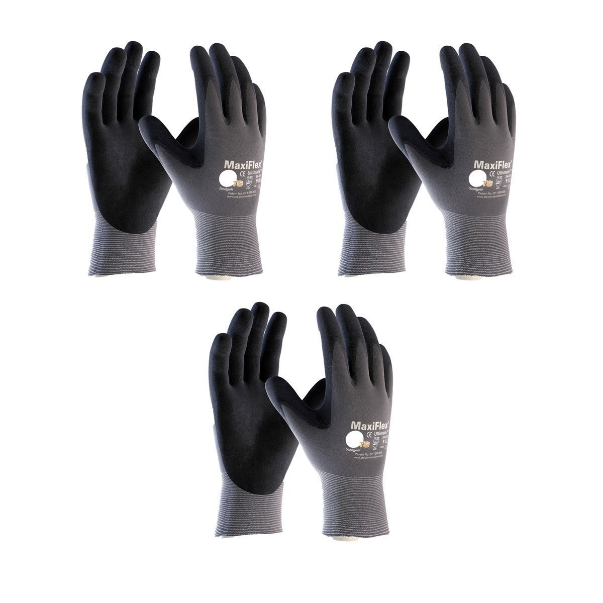 Maxiflex 34-874 Ultimate Nitrile Grip Work Gloves 3 Pair Large