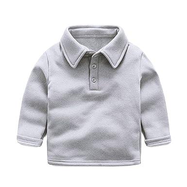 22cd0447354e57 LittleSpring秋冬 キッズ 男の子 長袖 ポロシャツ 無地 Tシャツ スクール 厚手 裏起毛 折り襟 防寒