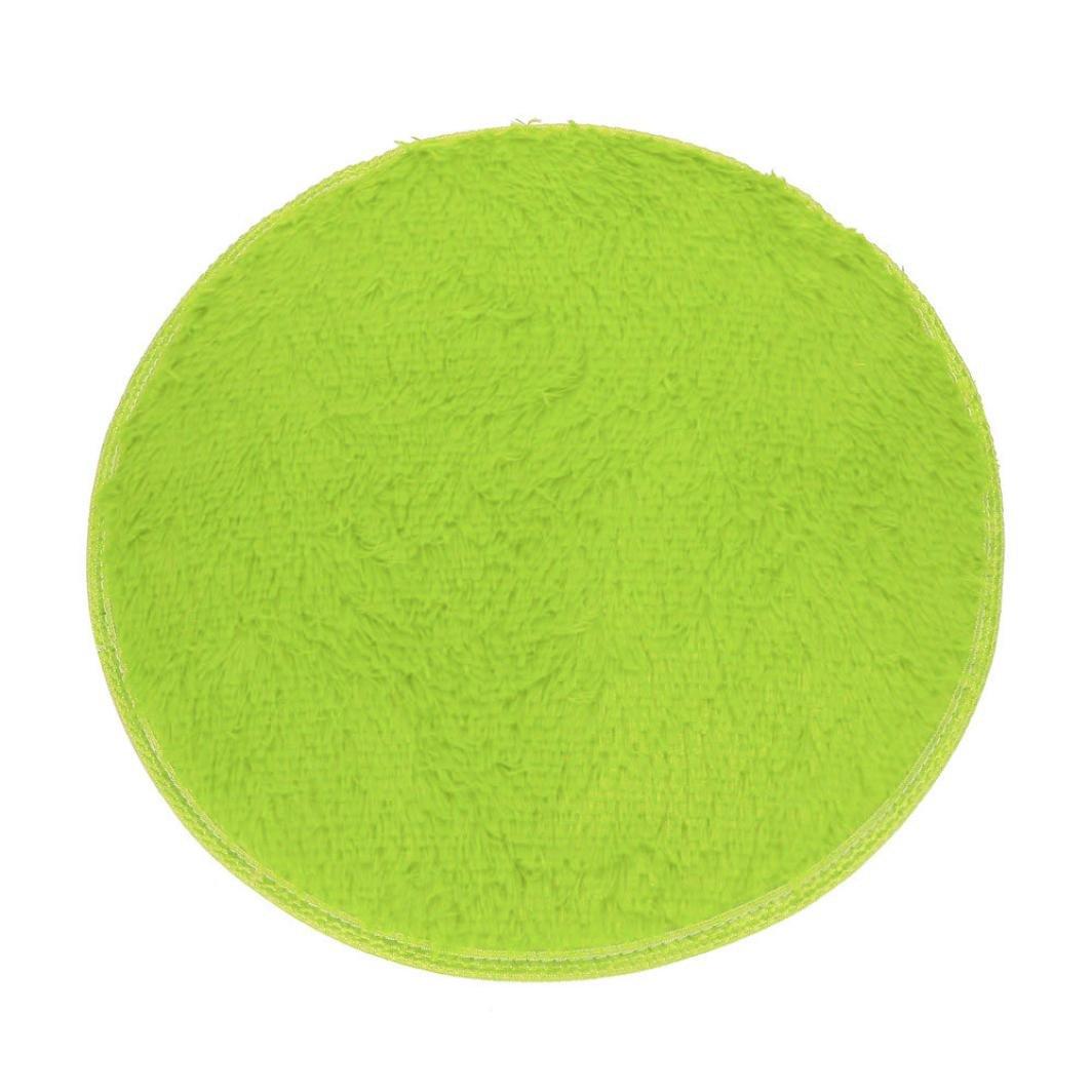 Floor Mats Clode® Soft and comfortable coral fleece mats Round Mat Bath Rug Shower Non-slip Floor Carpet (Black )