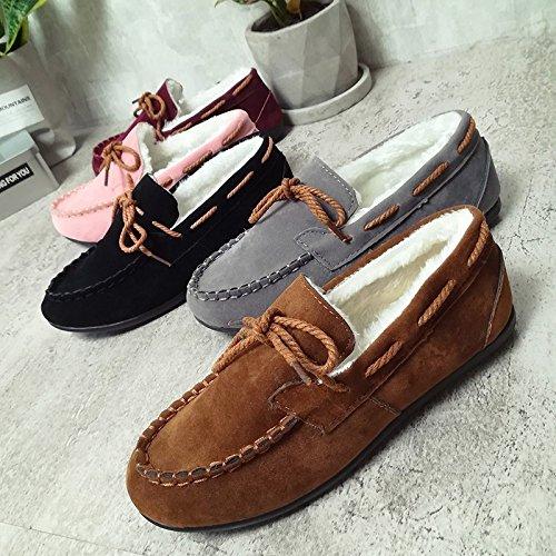 Chaussures Femmes Bow en Pieds Décoration Shallow Plat Hiver Brown Brown Accueil GUANG Coton Mouth Pois Chaud Plus Automne Velours Et Chaussures XING Chaussures Uwv4q5Hx