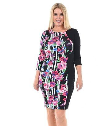 7ad32d3b552 Allora Women s Plus Size Floral Color Block Bodycon Dress (2X