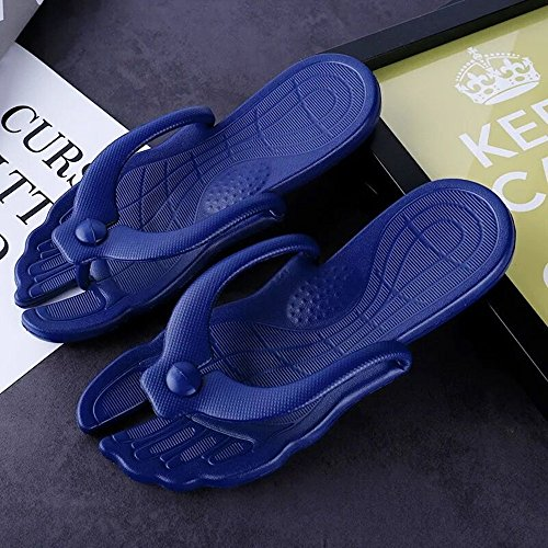 New Lightweight Portable Collapsible Men and Beach Aircraft Travel Soft Bottom Hotel Couple Bath Bathroom dragging Funny Creative Flip-Flops (Male 8.5-9.5/Woman 10-11, Blue)