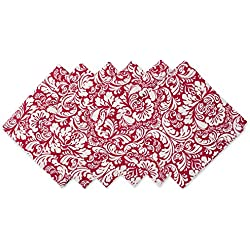 """DII 100% Cotton, Oversized Basic 20x20"""" Damask Napkin For Holidays, Buffets, Parties, Special Occasions, or Everyday Use - Set of 6, Tango Red"""