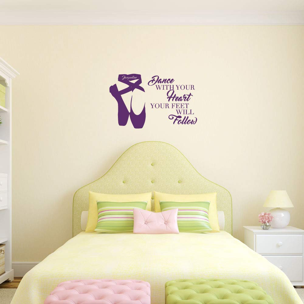 Amazon.com  Personalized Ballerina Wall Decor -Dance With Your Heart Your  Feet Will Follow - Vinyl Wall Decal For Your Girl s Bedroom or Dance  Studio  ... e72216f18321