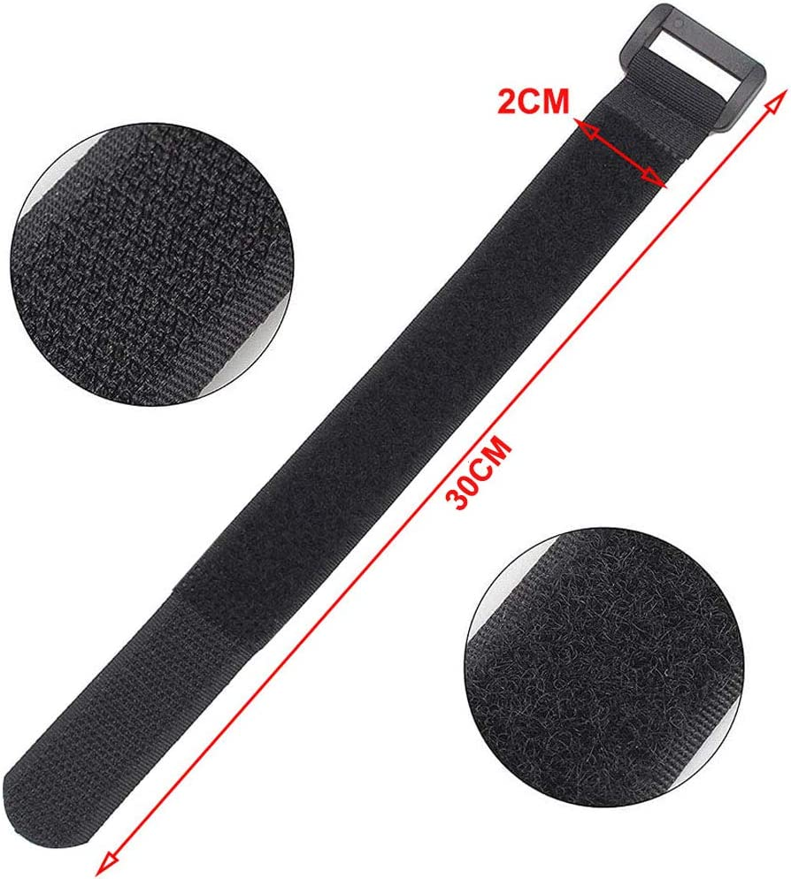 Aiqeer 30 Pcs 30 cm Black Cable Straps Reusable Cable Ties for Cables Management Multipurpose Hook and Loop Securing Straps
