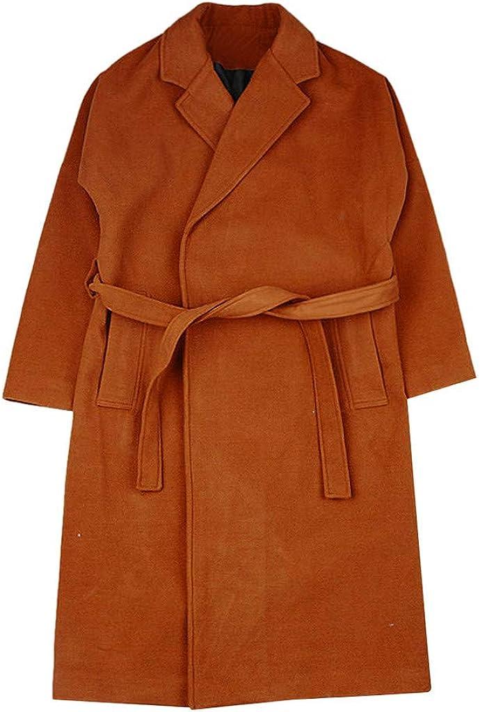 Houshelp Mens Lapel Coat Business Jacket Trench Topcoat Knee Length Overcoat Windproof Thick Winter Jacket