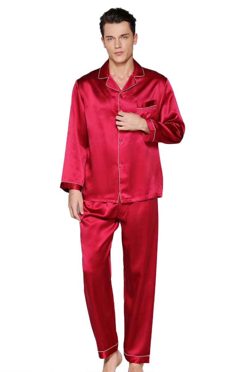 Colorful Silk Luxury Silk Pajamas Sets Homewear Beautiful Gifts Red L