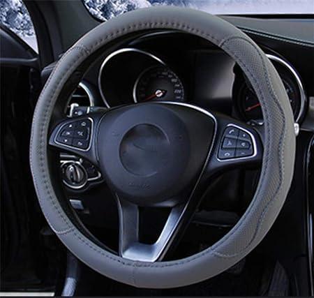 Tininna Pu Leder Lenkradabdeckung Rutschfester Lenkradschoner Universal Auto Lenkradhülle Lenkradschutz Lenkradbezug Lenkrad Abdeckung 38cm Grau Auto