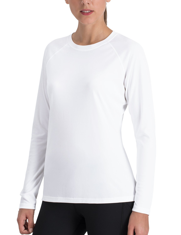 White NAVISKIN Women's Sun Predection UPF 50+ UV Outdoor Long Sleeve TShirt