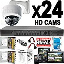 USG 960P 24 Camera Security System CCTV Kit * 1x 24 Channel DVR + 24x Sony DSP 2.8-12mm Dome Camera + 2x Power Supply Boxes + 1x 1000ft RG59 Cable + 68x BNC Connector + 54x Power Pigtail + 1x 4TB HDD