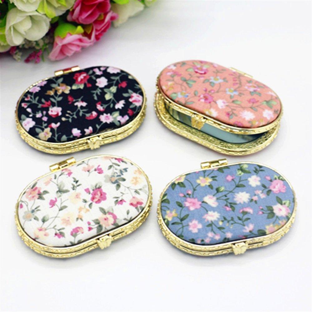Visic Slim e Leggero Adorable Double Sided Metal Oval Shape Embroidery Design Specchietti tascabili compatti