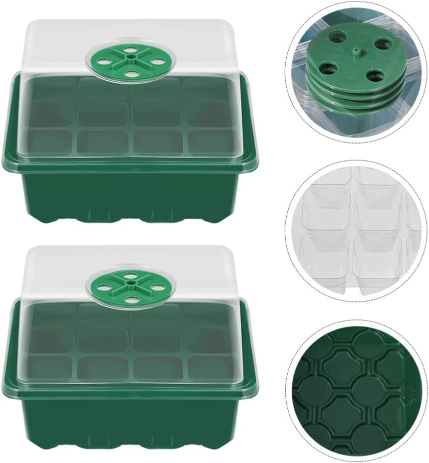 L/öcher Keimung Tablett S/ämling Box mit Einstellbar Atmungs Abdeckung f/ür Home Garten HEMOTON 1 Set// 3Pcs Starter Tablett Professionelle 12