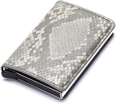 BISO Goro 2019 - Tarjetero de identificación de Negocios para Hombre y Mujer, Caja de Aluminio RFID Vintage, Tarjetero de Piel sintética, Billetera de carbón: Amazon.es: Equipaje