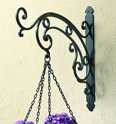 Black Iron Victorian Scroll Hanging Bracket | Wall Mounted Hook Hanger Outdoor
