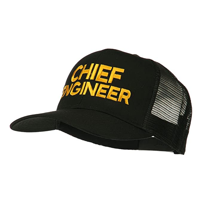 d4ff883ac42 E4hats Chief Engineer Embroidered Twill Mesh Cap - Black OSFM at ...