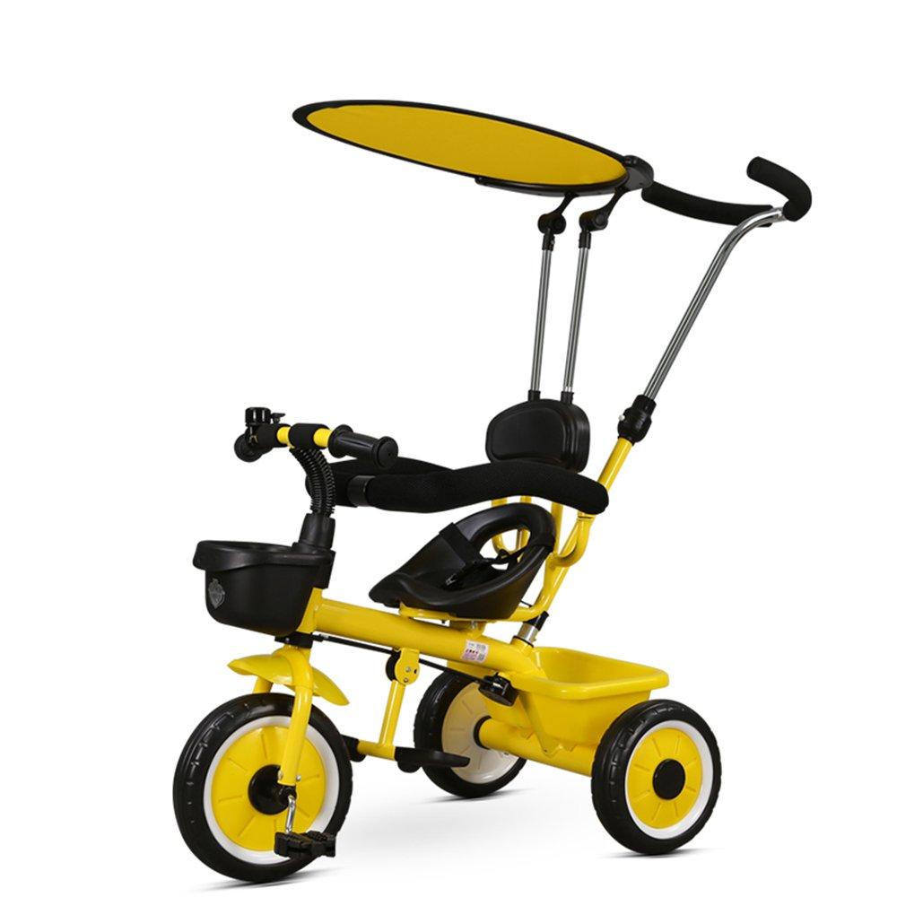 YANGFEI 子ども用自転車 4-in-1ベビーベビーカーと子供用トライクブルーレッドホワイトイエロー 212歳 B07DWRJFHR イエロー いえろ゜ イエロー いえろ゜