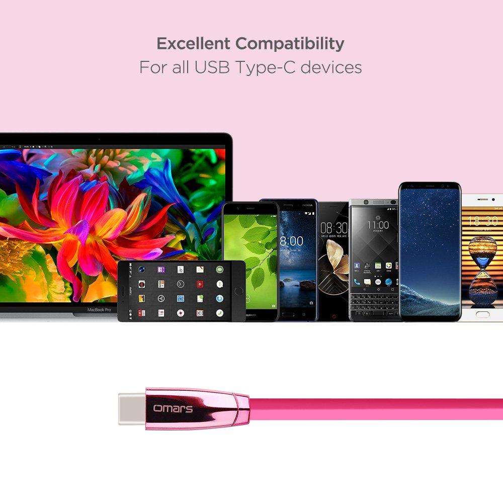 OMARS Câble USB C vers USB A 2.0 1.2m Câble Plat Connecteur d'Aluminium pour MacBook Huawei Honor 8/Mate 9/P10 Nubia Z11 ZTE Axon 7 Xiaomi Mi Mix Samsung Galaxy C7 Pro Nexus 5X/6P OnePlus 3