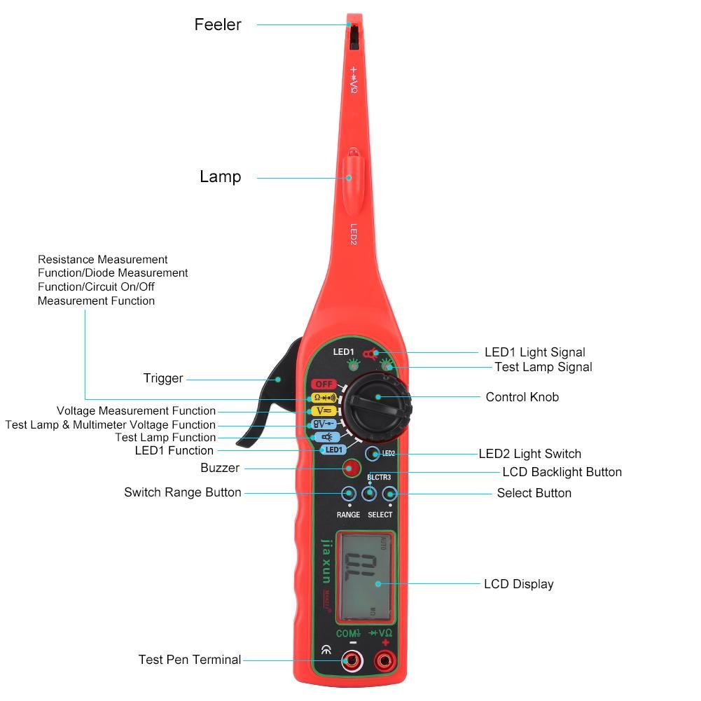 4 in 1 Auto Circuit Tester Multimeter Lamp Car Repair Automotive Electrical Diagnostic Tool ((Multimeter +Test lamp +Lighting Lamp + Probe)(Red) by Walfront (Image #2)
