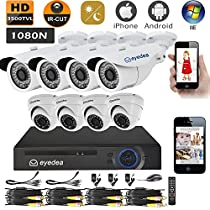 Eyedea 1080N DVR Color Day Vision 3500TVL Mobile Phone View 960P Bullet Dome 1.3MP Megapixel Video Surveillance Waterproof Outdoor CMOS IR-Cut LED Night Vision CCTV Security Camera System
