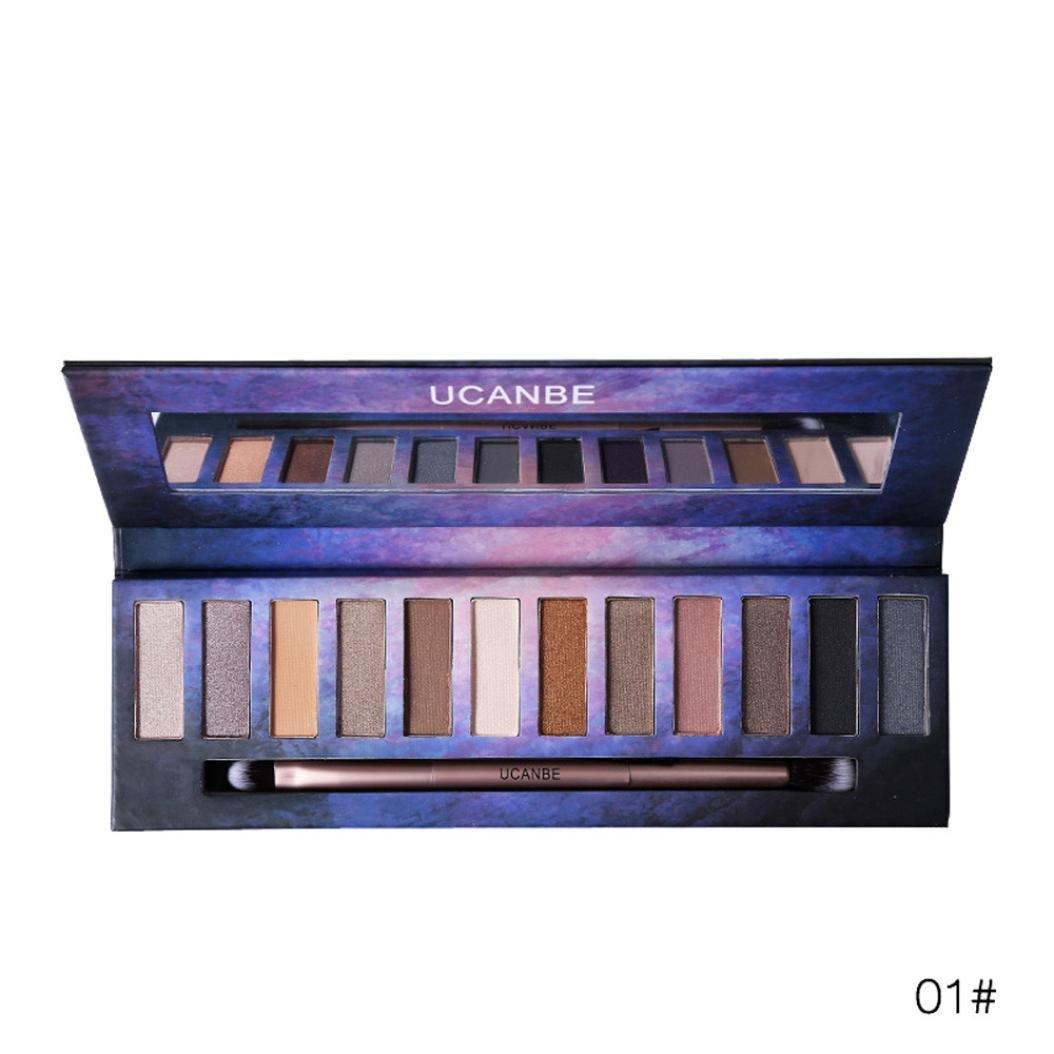 12 Colors Beauty Brick Eyeshadow Smoky Matt Pigment Palette Makeup Set (# A)