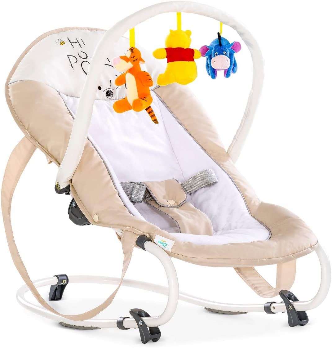 Hauck Bungee Deluxe hamacas bebes, mecedora con movimiento, respaldo ajustable, sistema de arnes, arco de juegos, de 0 meses hasta 9 kg, antivuelco, portátil - Pooh beige