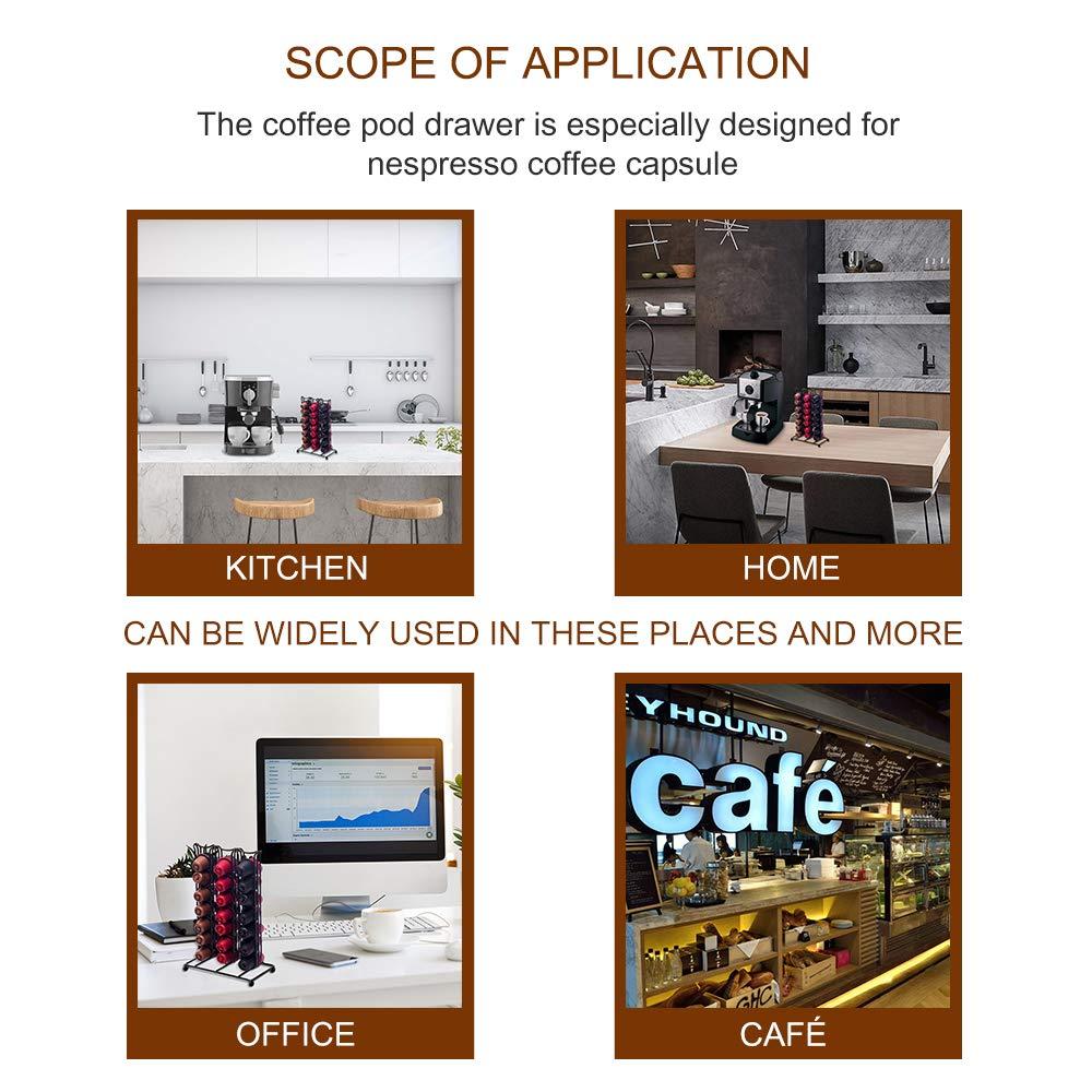 Caja de almacenamiento para c/ápsulas de caf/é Nexmon 40 paquetes de c/ápsulas de caf/é con caj/ón para Nespresso B-40 Packs negro