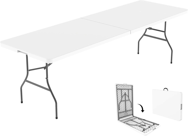 Todeco - Mesa de Plástico Resistente, Mesa Plegable Portátil, 240 x 75.5 cm, Blanco, Plegable por la Mitad, Material: HDPE, Carga máxima: 100 kg