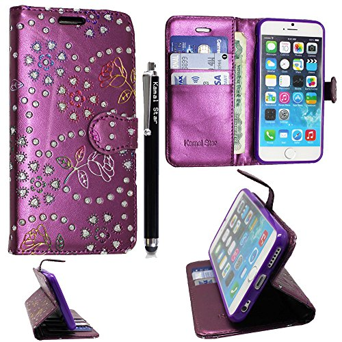 Apple iphone 5C Hülle , Kamal Star® PU Leder Flip Case Schutzhülle + Stylus ( Rose Purple Diamond Book )