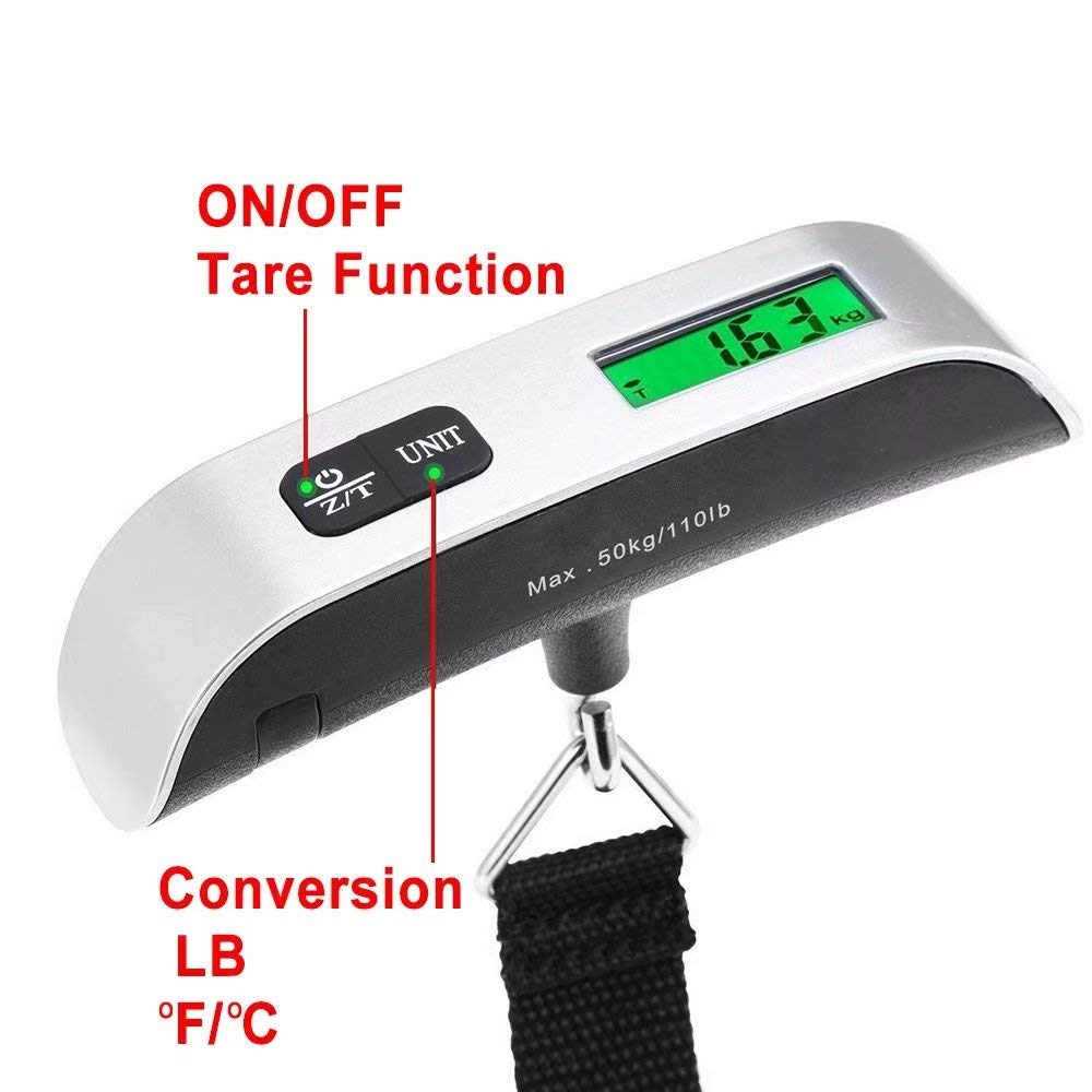 Household and Gift Silver with Temperature Sensor and Tare Function Paddsun 110lb//50kg Electronic Balance Digital Hanging Luggage Scale Portable Scale for Travel Battery Included