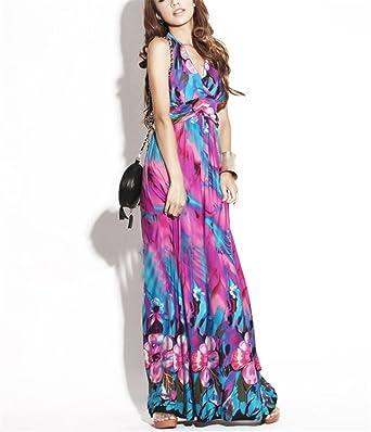 Amazon.com: Paule Trevelyan NEW estilo Boemia primavera vestido de seda praia moda vestido de gola V sexy elegante longo flor vestido de design de impressão ...