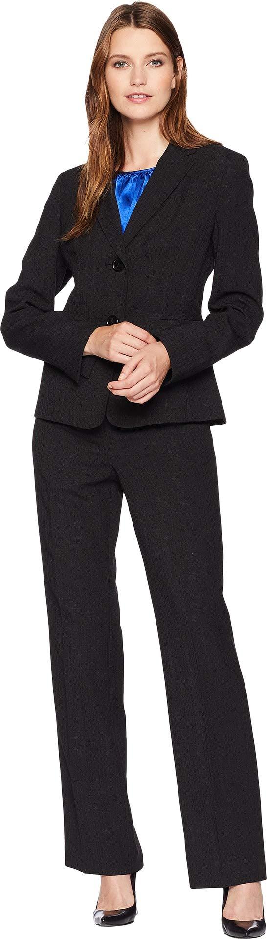 Le Suit Women's Basketweave Two-Button Pants Suit w/Cami Black/Cobalt 12