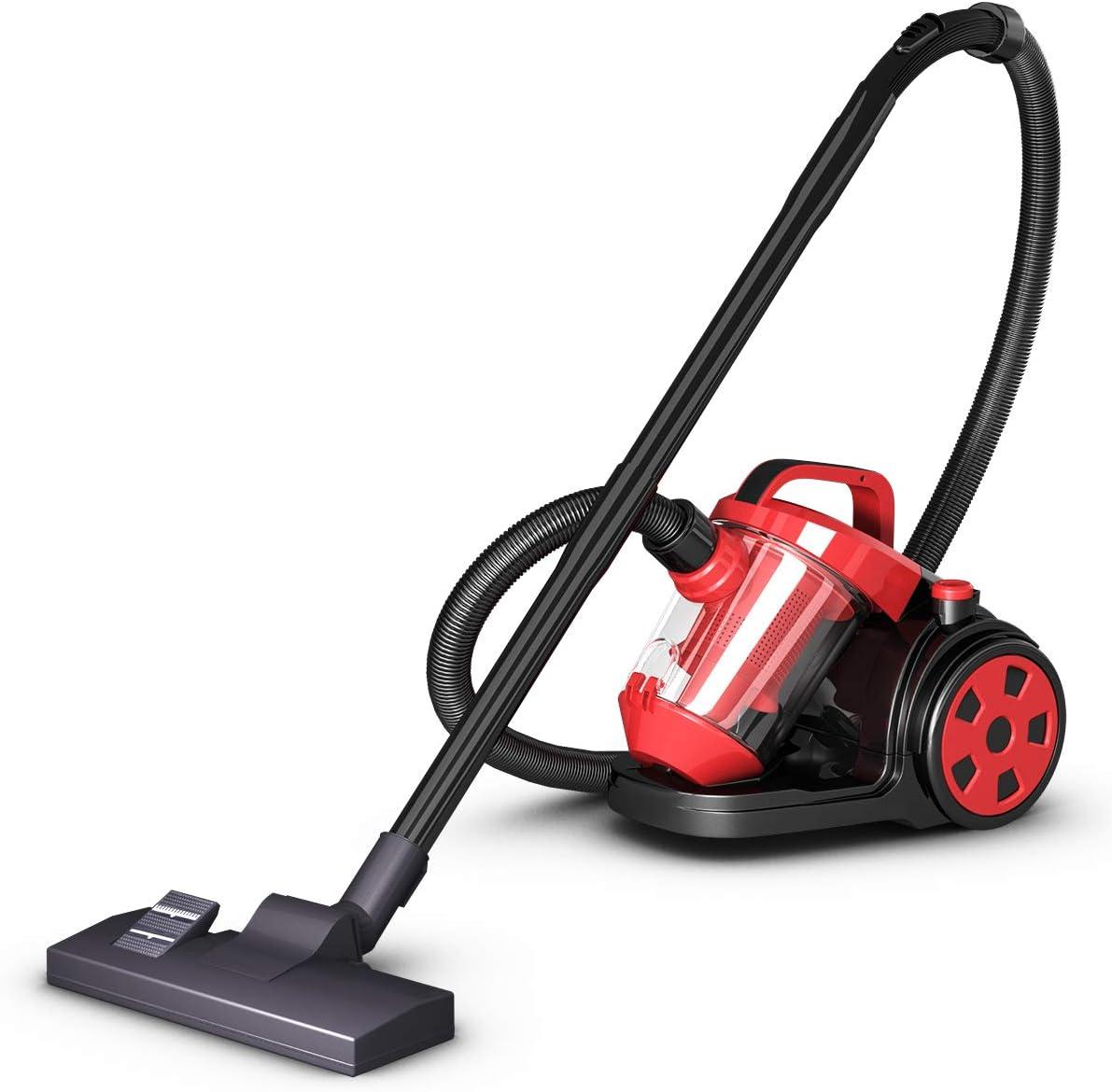 COSTWAY aspiradora ciclónica sin bolsa con filtro HEPA, aspirador de piso duro con cable para rebobinar alfombra, viene con interruptor cepillo de piso y boquilla de boquilla y cepillo (rojo, 12 pulgadas