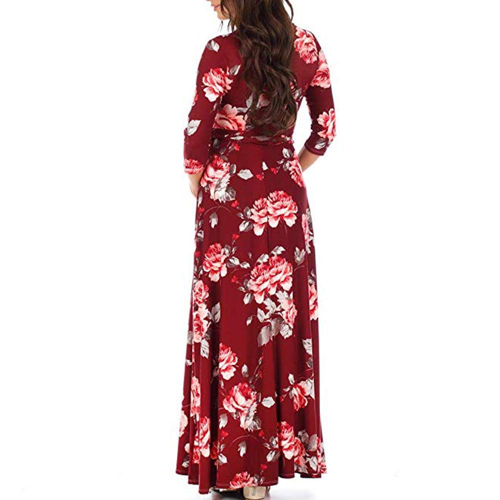 Mumustar Pregnant Women Long Dress Adjustable 3//4 Sleeve V Neck Floral Bohemia Maxi Dresses for Maternity Mom Pregnancy Clothes Photography
