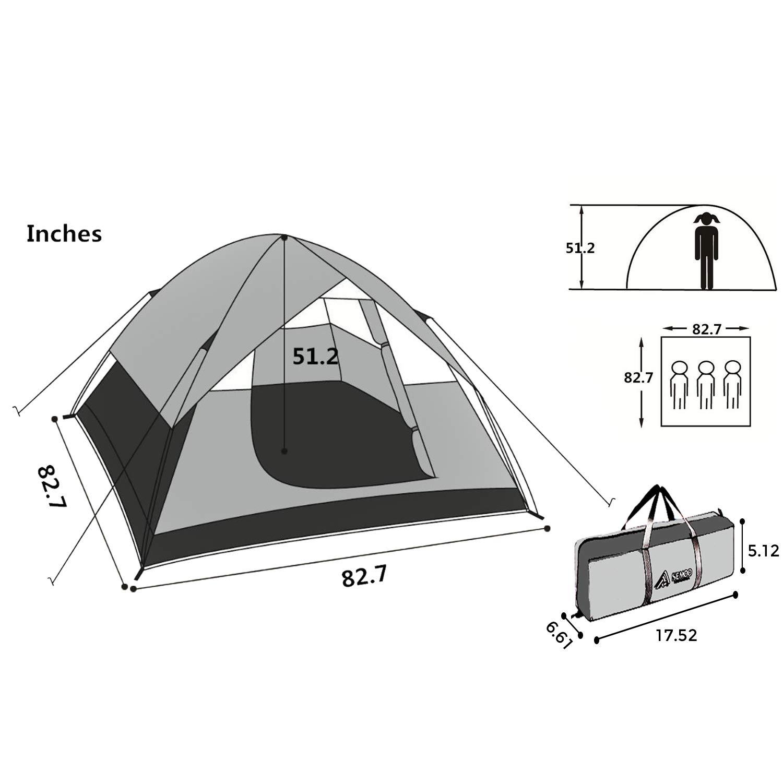 SEMOO Tente de Camping pour 3 Saisons Tentes d/ôme tr/ès l/éger et r/ésistant