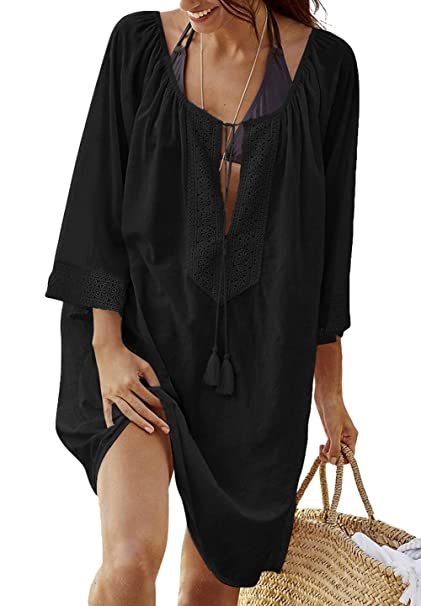 4c67e46f437ee0 ZINPRETTY Women s Bathing Suits Cover Up V-Neck Tassel Plus Size Loose  Sleeve Beach Tops