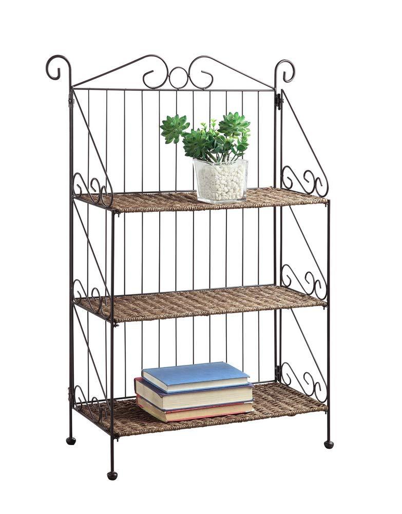 4D Concepts Farmington 3 Tier Folding Weave Black Iron Shelf Decorative Bookcase