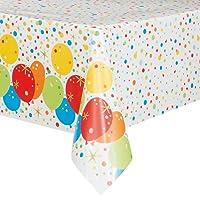 Unique Party Foil Glitzy Gold Happy Birthday Plastic Tablecloth, 7ft x 4.5ft