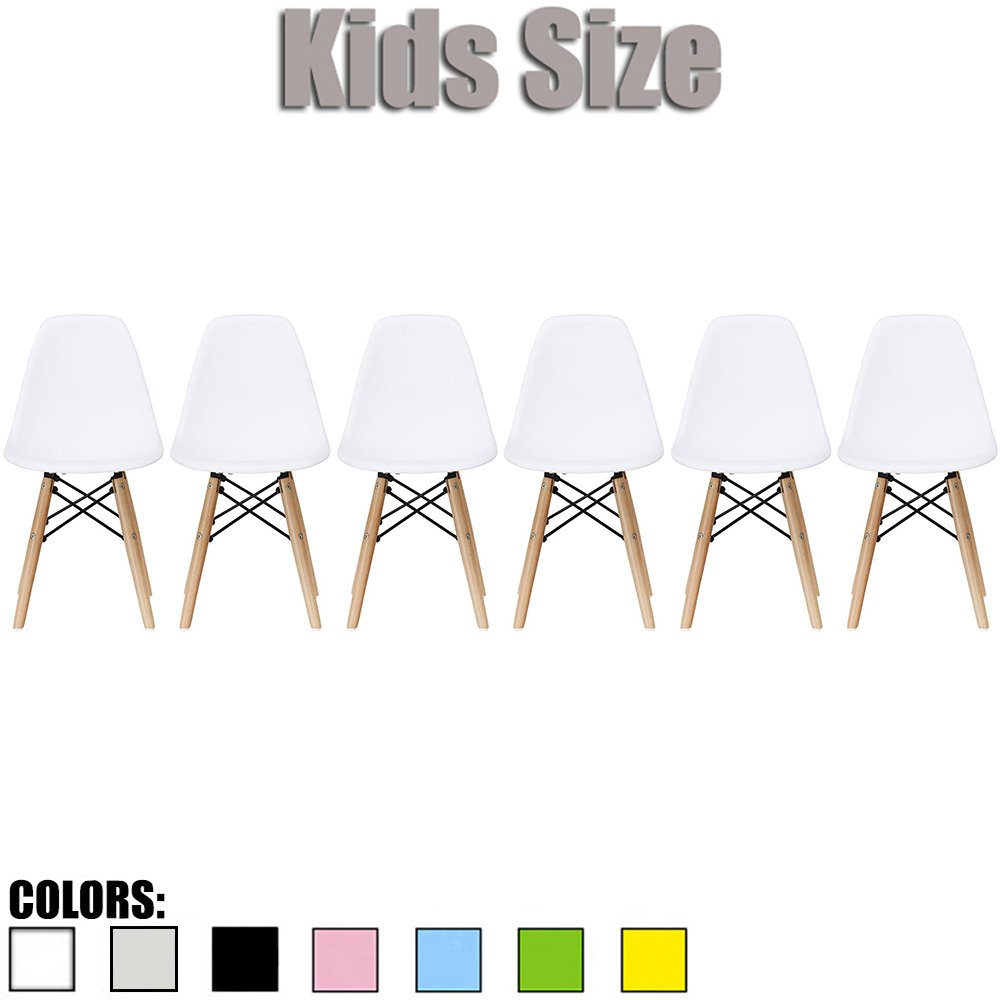 2xhome - Set of Six (6) - White - Kids Size Eames Side Chairs Eames Chairs White Seat Natural Wood Wooden Legs Eiffel Childrens Room Chairs No Arm Arms Armless Molded Plastic Seat Dowel Leg
