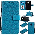 TOTOOSE Motorola Moto E4 (American Version) Wallet Leather Case with Protective Durable Leather Phone Cases Shell Folio flip Cell Phone Cover Bag with Card Slots,Cash Pocket,Blue from TOTOOSE
