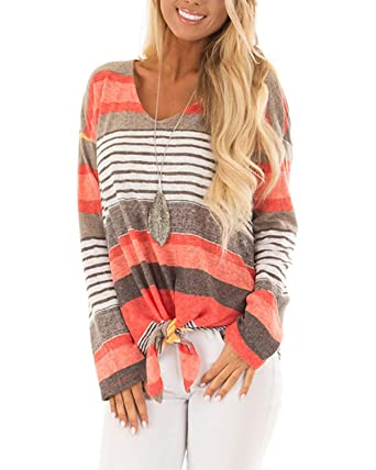 bc4a10efc0 Image Unavailable. Image not available for. Color: AELSON Women's Long  Sleeve Twist Knot Blouse Shirts Casual Striped Color Block Tunic Tops