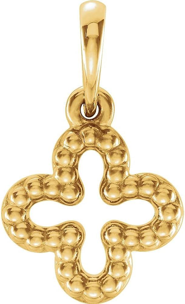 14K Yellow Gold Beaded Clover Pendant