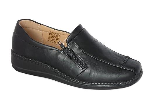 Zapatos de Mujer Mocasines Ligero, Cuero de Imitación, Zapatos Cómodo sin Cordones - con