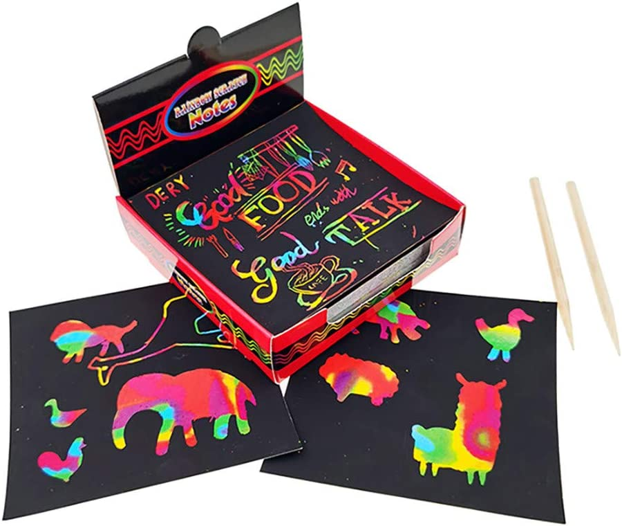 TADAMI Scratch Art Box of Rainbow Mini Notes,Rainbow Scratch Off Mini Art Notes,Rainbow Magic Scratch Off Arts Crafts Supplies Kits,Scratch Art Set for Easter Party Game Christmas Birthday Gift A