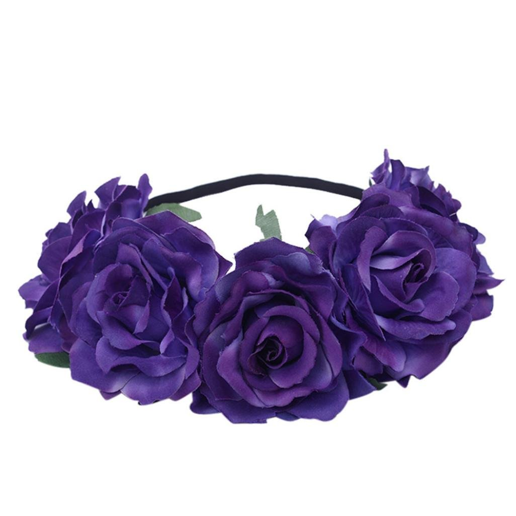 Womens Boho Rose Flower Exquisite Headband Floral Crown Wreath Garland Halo for Wedding Festivals Party (Purple)