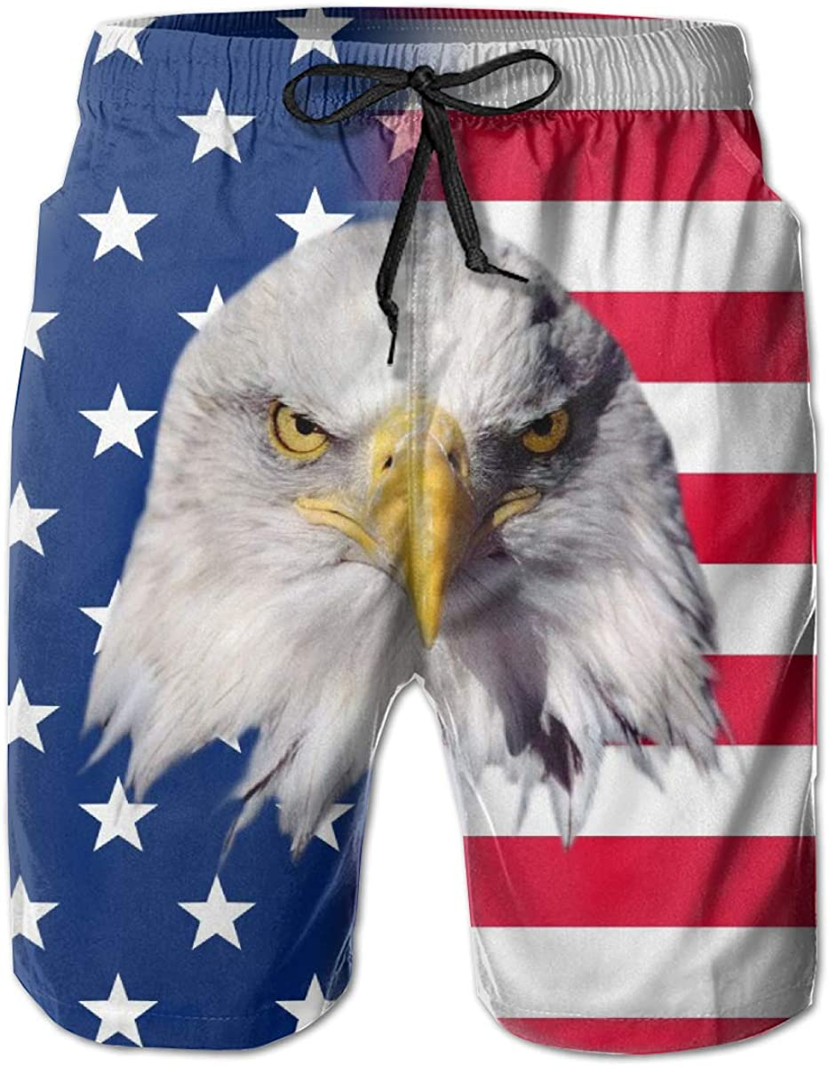 Ventoo Mens America Flag Eagle Swim Trunks Summer Surfing Beach Shorts Pants Quick Dry with Pockets