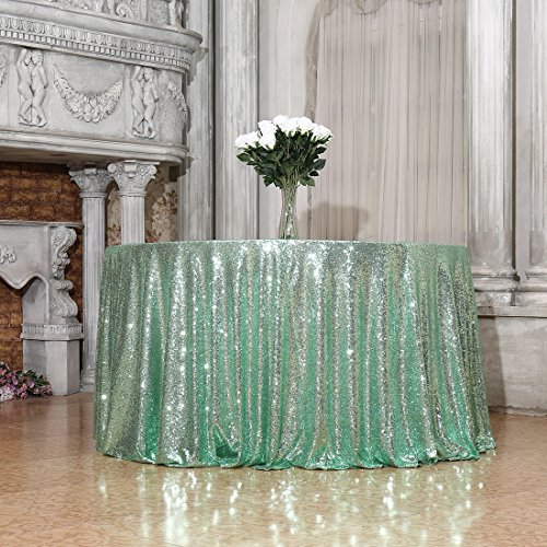 3E Home 72-Inch Round Sequin TableCloth for Party Cake Dessert Table Exhibition Events, Mint Green